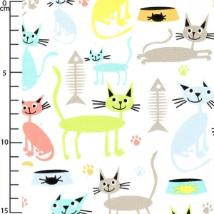 Fabric Atomic Tabbys - Cat & Kaboodle White x10cm