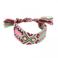 Brazilian bracelet coton 28mm green/pink