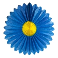 Marguerite in silk paper  68 cm yellow/Blue x1