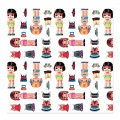 Decorative adhesive sheets 45x200cm girls outfits x1
