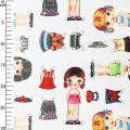 Oilcloth girls outfits white x10cm