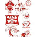 Sand of 8 stamps - inkpad - markers Stampo T-Shirt Aladine - Pirate