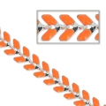 Chain with enameled cobs 6.3mm Orange Fluo silver tone x 50cm