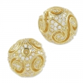 Round filigreed with rhinestones 11 mm golden tone/Crystal x1