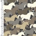 Fabric Houndstooth & Friends - Taupe Unicorn Herd x10cm