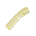Tube strass� et ajour� 27x6 mm gold tone/Crystal x1