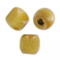 Oval beads with big hole in wood 18x16 mm light braun x20