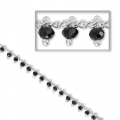 Chain with faceted beads 2.2 mm Jet/silver tone x 50cm