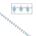 Chain with seed beads 1.7 mm Light Turquoise/silver tone x 50cm
