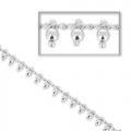 Bead chain with curb links 2 mm silver tone x 50cm