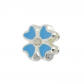Enameled slip bead for 5mm band Crystal/Bleu/silver tone x1