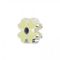 Enameled slip bead for 5mm band Jet/Cream/silver tone x1