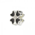 Enameled slip bead for 5mm band Crystal/black/silver tone x1