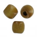 Oval beads with big hole in wood 18x16 mm brown x20