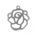 Rose pendant  16x14 mm stainless steel x1