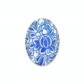 Decorated oval Cabochon 18x13mm plant Blue x1