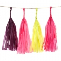 Garland of silk paper pompons 25.4 cm Anis/Fuchsia x1