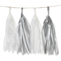 Garland of silk paper pompons 25.4 cm white/Grey x1