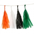 Garland of silk paper pompons 25.4 cm Orange/greenx1