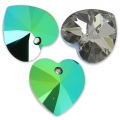 Swarovski 6228 Hearts 10,3x10mm Crystal Scarabaeus Green x6