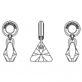 Swarovski 87002 Triangle Charms 12 mm Crystal Silver Night x1