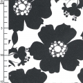 fabric Opposites Attract - Big Floral in Black on White x10cm