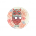 Mother-of-Pearl Button Owl 15 mm raspberry x1