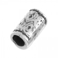 Bead big hole texturized 14x8 mm Old Silver Tone x1