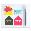 Mini envelopes and cards decorated 4.5x3 cm Red x10