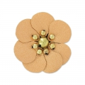 Flower in faux leather 30 mm Copper x1