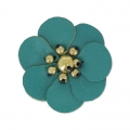 Flower in faux leather 30 mm Dark Green Turquoise  x1