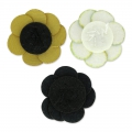 Flower in faux leather 30 mm gold tone x1