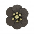 Flower in faux leather 30 mm brown x1