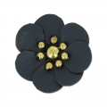 Flower in faux leather 30 mm Navy Blue x1