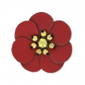 Flower in faux leather 30 mm Rouge x1