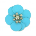 Flower in faux leather 30 mm Turquoise x1