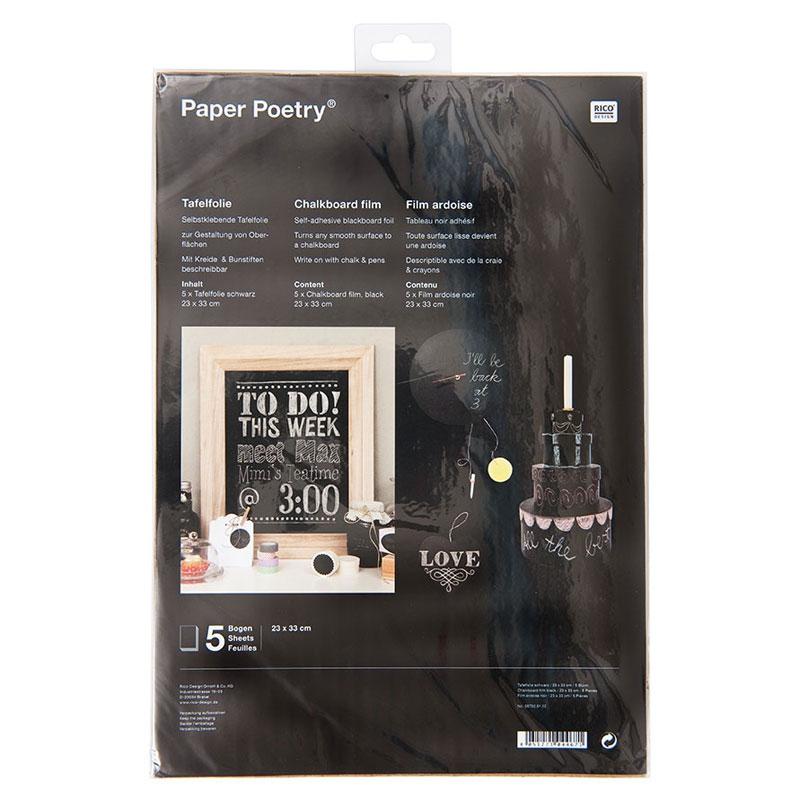 Sheets of adhesive slate film 23x33 cm blackx5 - Paper Poetry - Perles ...