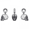 Swarovski 87008 Skull Charms 13 mm Crystal Silver Night 2X x1