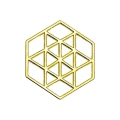 925 Sterling Silver hexagon spacer 15 mm Gold tone x1