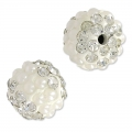 Plasticine round bead with rhinestones 10 mm Crystal/White