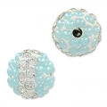 Plasticine round bead with rhinestones 10 mm Crystal/Light Blue