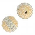 Plasticine round bead with rhinestones 10 mm Crystal/Light Peach