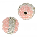 Plasticine round bead with rhinestones 10 mm Crystal/Light Rose