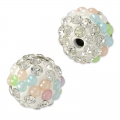 Plasticine round bead with rhinestones 10 mm Crystal/Multicolored