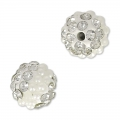 Plasticine round bead with rhinestones 8 mm Crystal/White