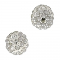 Plasticine round bead with rhinestones 8 mm Crystal/Grey