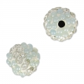 Plasticine round bead with rhinestones 8 mm Crystal/Light Blue