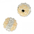 Plasticine round bead with rhinestones 8 mm Crystal/Light Peach