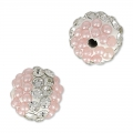 Plasticine round bead with rhinestones 8 mm Crystal/Light Rose