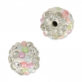 Plasticine round bead with rhinestones 8 mm Crystal/Multicolored